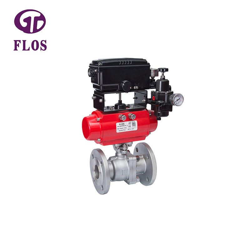 2 pc pneumatic ball valve with positioner,flanged ends