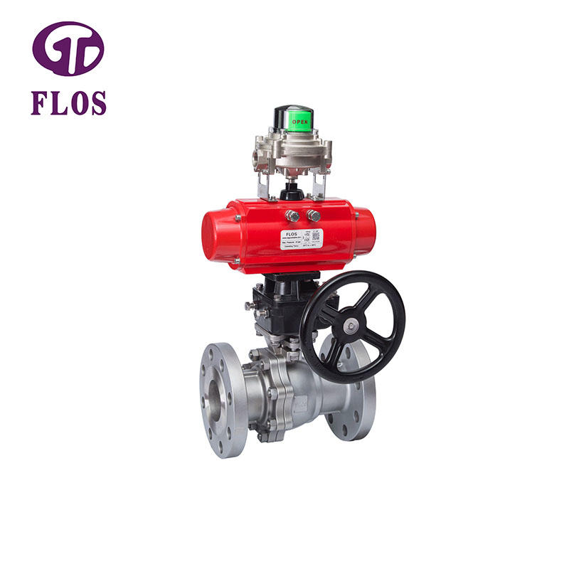 2 pc pneumatic&gear box ball valve with open-close position switch, flanged ends