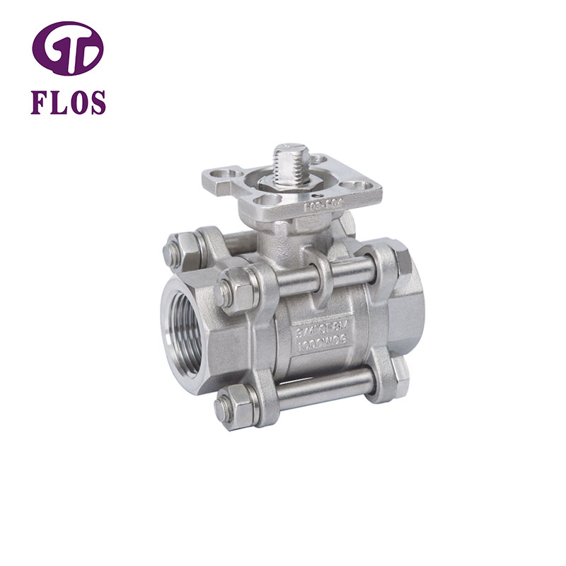 FLOS pc 3 piece stainless ball valve Supply for opening piping flow-2
