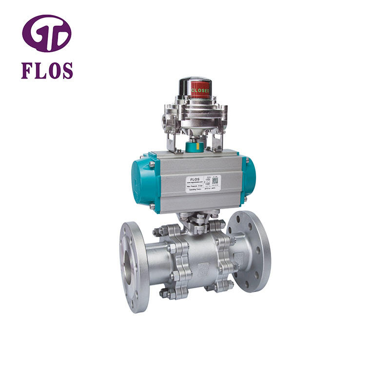 3 pc pneumatic ball valve with open-close position switch, flanged ends
