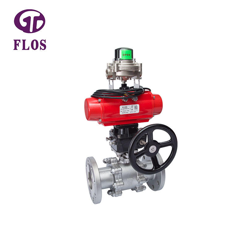 3 pc pneumatic/worm ball valve with open-close position switch,flanged ends