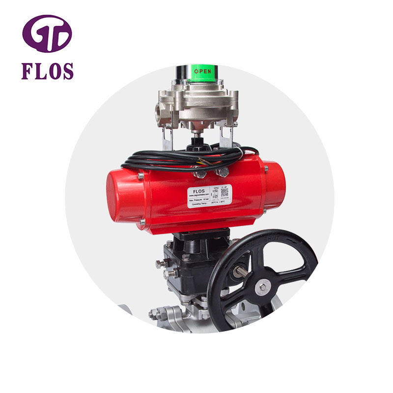 3 pc pneumatic&gear box ball valve with open-close position switch,flanged ends