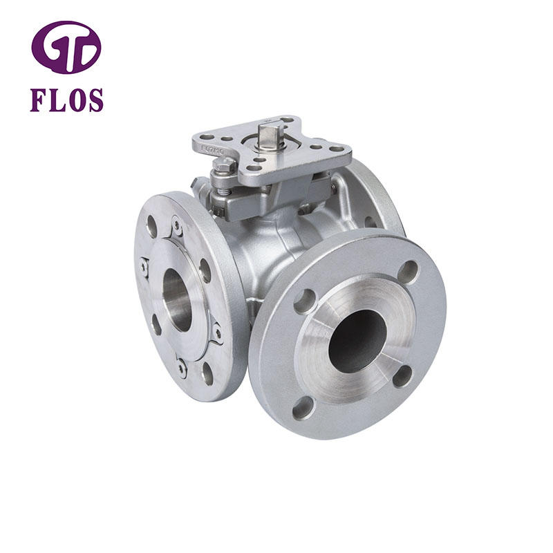 3 way stainless steel high-platform ball valve,flanged ends
