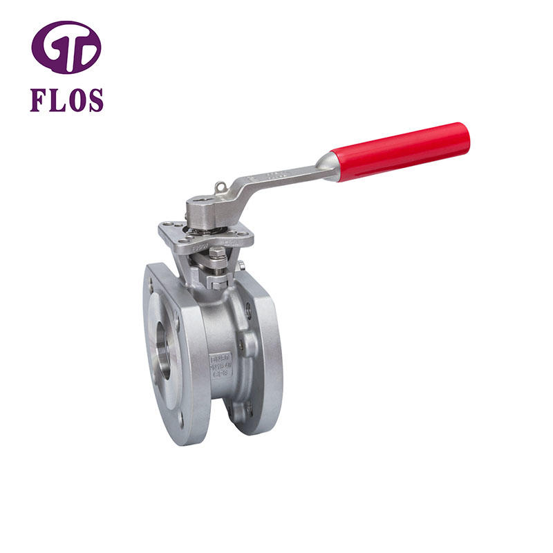One pc manual wafer type ball valve,flanged ends