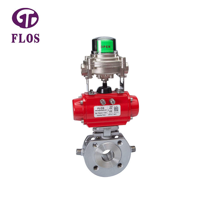 One pc pneumatic heat preservation ball valve with open-close position switch,flanged ends
