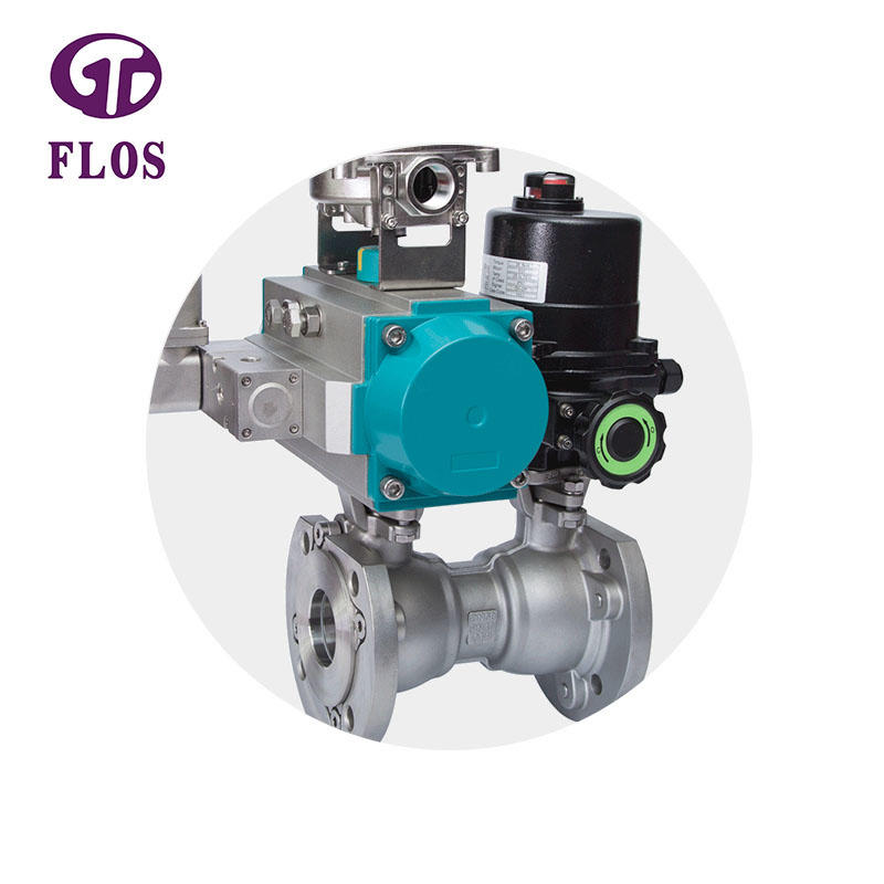 One pc pneumatic-electric stainless steel ball valve with open-close position switch,flanged ends