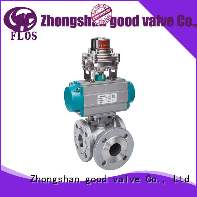 3 way pneumatic stainless steel ball valve with open-close position switch, flanged ends