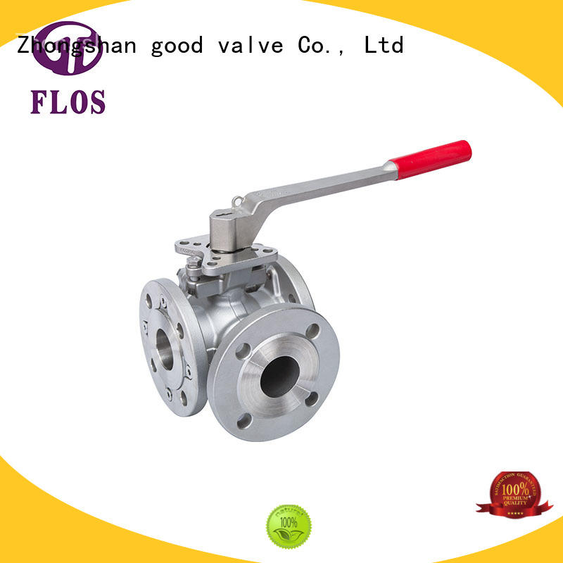 FLOS stainless 3 way flanged ball valve wholesale for opening piping flow