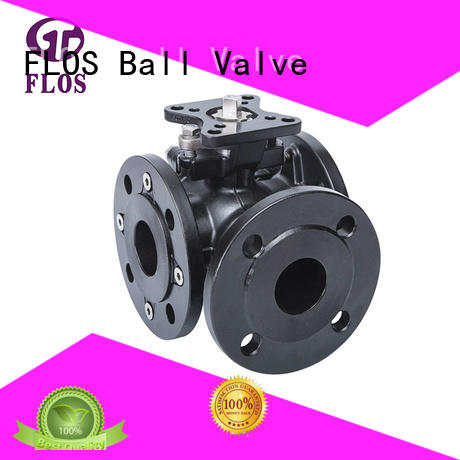 3 way carbon steel high-platform ball valve, flanged ends