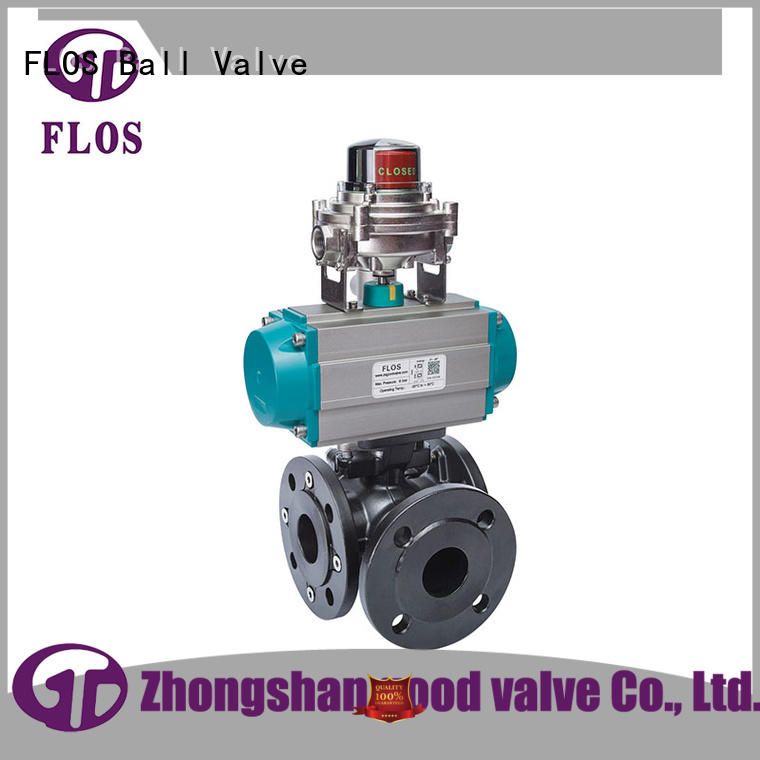 3 way pneumatic carbon steel ball valve /open-close position switch, flanged ends