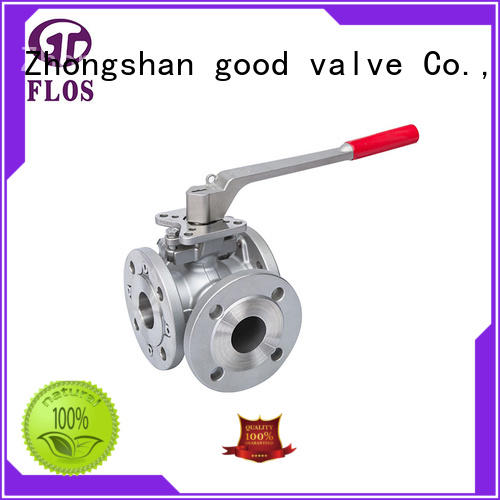 FLOS pneumatic 3 way flanged ball valve wholesale for closing piping flow