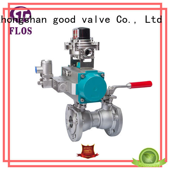 One pc pneumatic-manual double stainless steel ball valve with open-close position switch, flanged ends