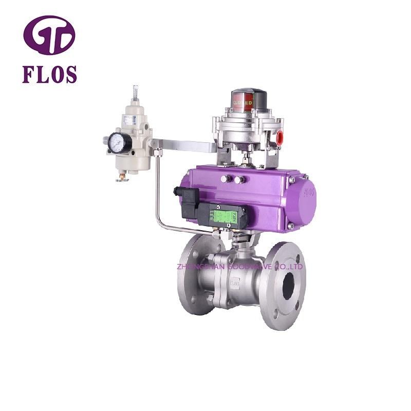 2 pc pneumatic ball valve with open-close position switch,flanged ends