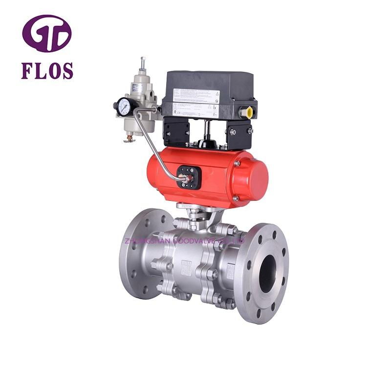 3 pc pneumatic ball valve with positioner,flanged ends