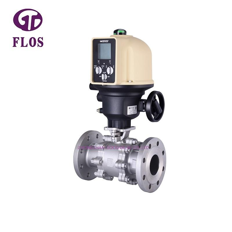 3 pc electric /worm high-platform ball valve, flanged ends