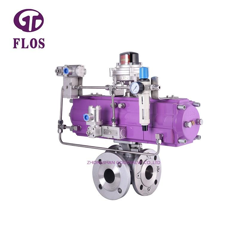 3 way pneumatic stainless steel ball valve with open-close  switch, flanged ends
