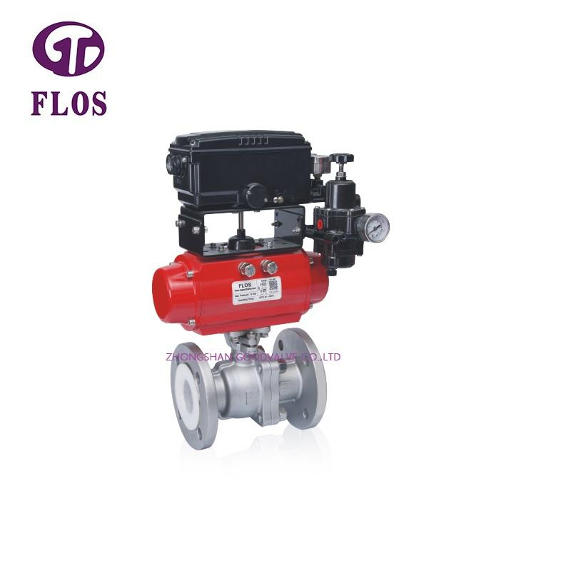 2 pc pneumatic fluorine lined ball valve with positioner,flanged ends