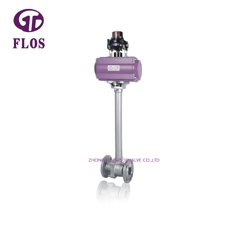 2 pc pneumatic cryogenic ball valve with switch,flanged ends